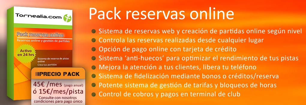 pack reservas  on-line para clubes de tenis y padel.